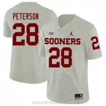 Mens Adrian Peterson Oklahoma Sooners Jersey #28 Jordan Brand Authentic White College Football Jersey