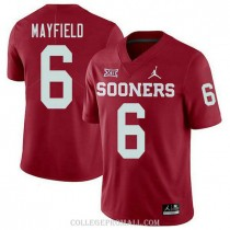 Mens Baker Mayfield Oklahoma Sooners Jersey #6 Jordan Brand Authentic Red College Football Jersey