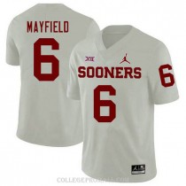 Mens Baker Mayfield Oklahoma Sooners Jersey #6 Jordan Brand Authentic White College Football Jersey
