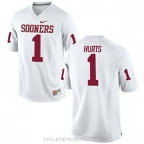 Mens Jalen Hurts Oklahoma Sooners Jersey #1 Limited White College Football Jersey