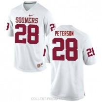 Womens Adrian Peterson Oklahoma Sooners Jersey #28 Authentic White College Football Jersey