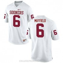 Womens Baker Mayfield Oklahoma Sooners Jersey #6 Limited White College Football Jersey