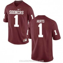 Womens Jalen Hurts Oklahoma Sooners Jersey #1 Authentic Red College Football Jersey