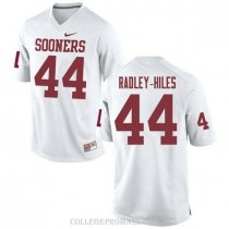 Youth Brendan Radley Hiles Oklahoma Sooners Jersey #44 Game White College Football Jersey